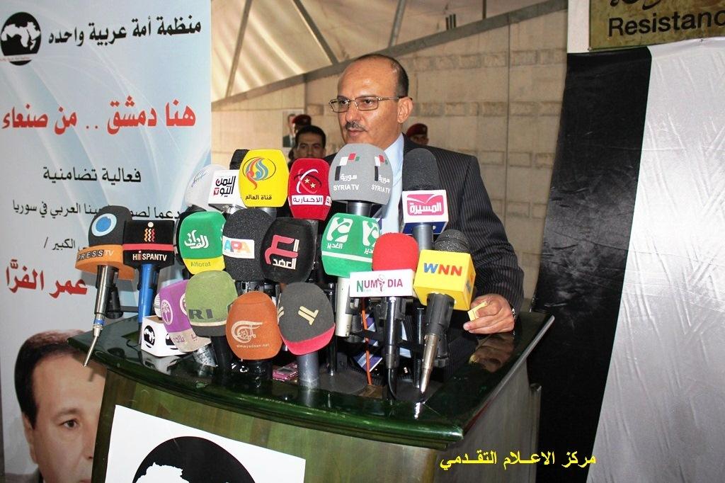 يحيى صالح يفتتح الصباحية الشعرية للشاعر عمر الفرا في خيمة المقاومة تضامنا مع سوريا